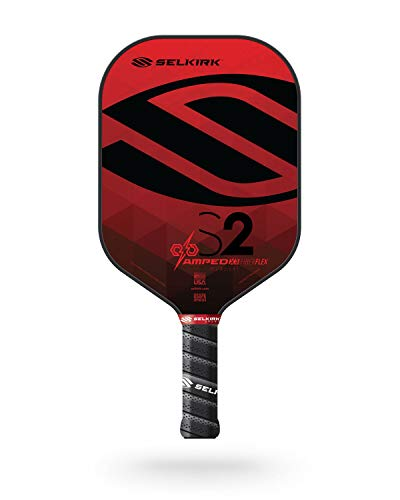 Selkirk Amped Pickleball Paddle | Fiberglass Pickleball Paddle with a Polypropylene X5 Core | Pickleball Rackets Made in The USA | 2021 S2 Midweight Selkirk Red |