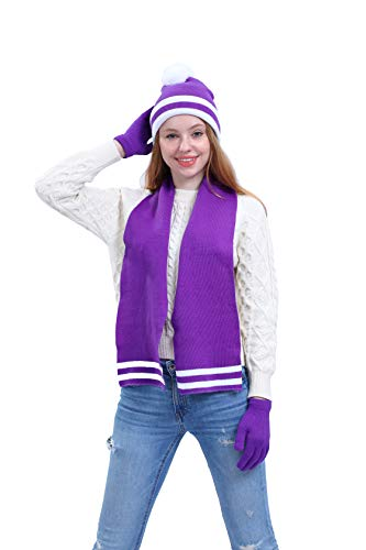 Women's 3-Piece Knitted Beanie Hat, Gloves and Scarf Winter Accessory Set, Purple with White Stripe