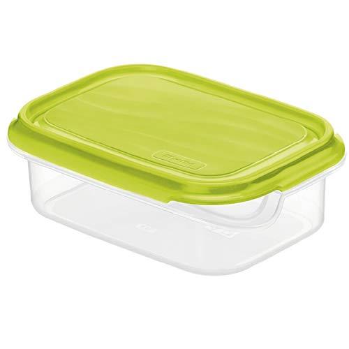 Rotho Rondo Boîte pour Aliments Frais de 0,5L avec Couvercle, Plastique (PP) sans BPA, Transparent / Vert, 0,5L (16,0 x 12,0 x 5,3 cm)