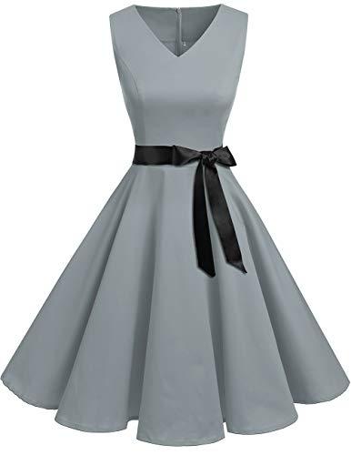 bridesmay Bridesmay Vintage 1950er Jahre Kleider V-Ausschnitt Retro Cocktail Party Swing Kleid Grau M