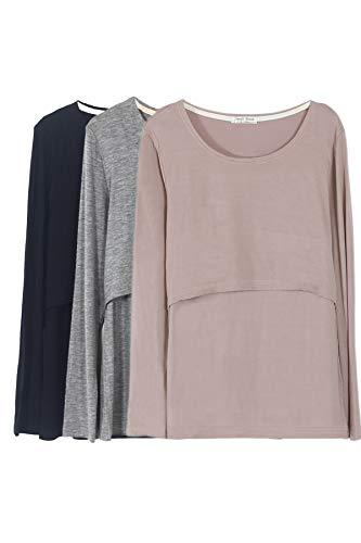 Smallshow Mujer Top Camiseta Premamá Lactancia De Manga Larga 3 Pack,Black/Grey/Brown,S