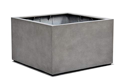 VAPLANTO® Pflanzkübel Low Cube 100 Beton Grau Quadratisch XXL * 100 x 100 x 60 cm * Manufaktur Qualität * 10 Jahre Garantie