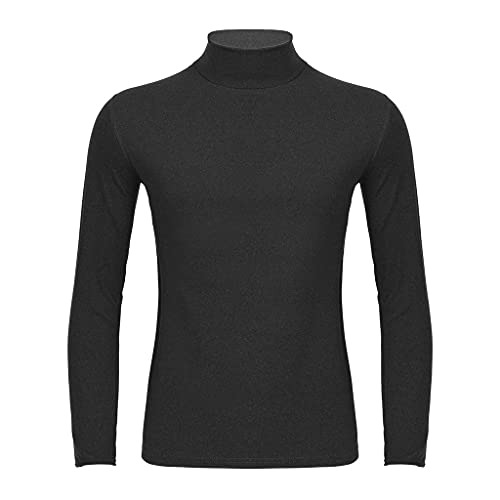 GELTDN Thermal Underwear Top for Men Solid Color Warm Stretchy Long Sleeve Turtleneck Shirt Seamless Autumn Winter Thermo (Color : B, Size : 4XL Code)