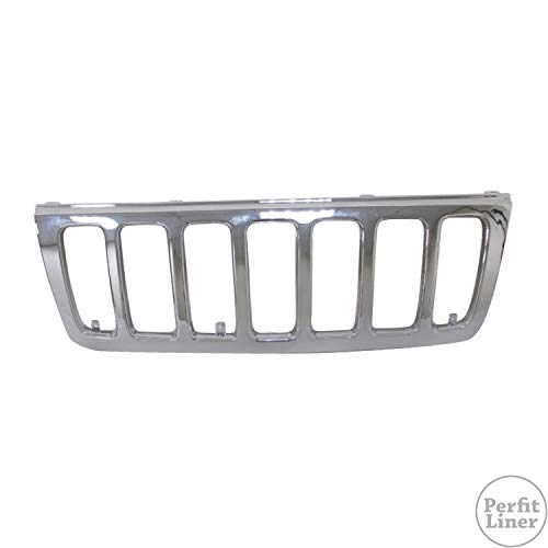 Perfit Liner New Replacement Parts Front Chrome Grille Grill Compatible With JEEP Grand Cherokee SUV Fit LAREDO Model CH1200221 55155921AB