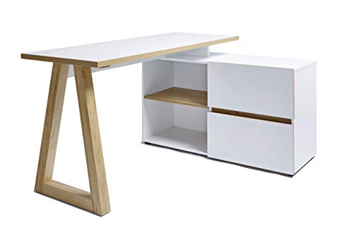 Marque Amazon - Movian Stanberg - Bureau d'angle à 2 tiroirs, 140 x 110 x 76 cm, Finition chêne/blanc