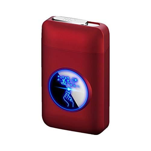 Zigarettenetui mit Feuerzeug, LED Grafik-Zigaretten-Etui, 2-in-1 Portable Elektronisches Lighter Flammenlose Aufladbar Zigarettenschachtel, Elegante Entwurf Feuerzeug Aufladbar Gules