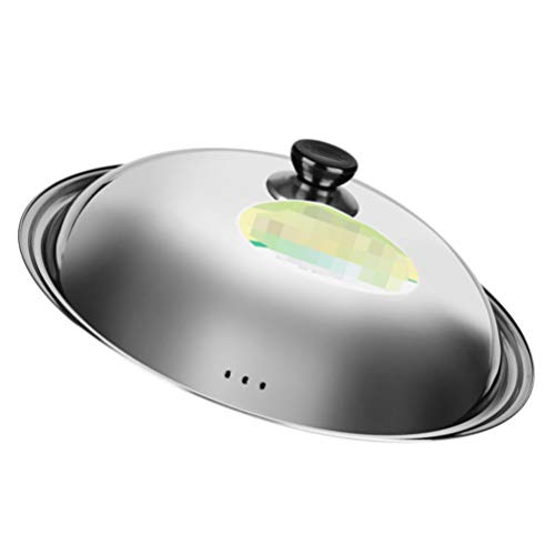 Hemoton - Coperchio universale in acciaio INOX, 34 cm, coperchio per padelle e pentole