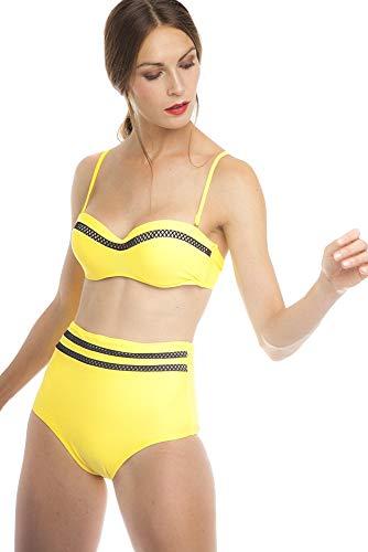 SOL Y PLAYA - Conjunto Bikini triangulo Halter Bandeau Push up con aro Braga Alta diseño Sexy Efecto Transparencias Moderno para Mujer Chica señora (40 - M, Amarillo)