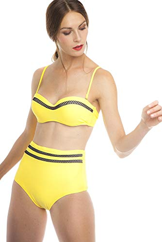 SOL Y PLAYA - Conjunto Bikini triangulo Halter Bandeau Push up con aro Braga Alta diseño Sexy Efecto Transparencias Moderno para Mujer Chica señora (42 - L, Amarillo)