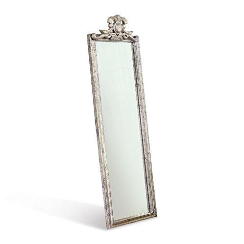 Loberon spiegel Aureville, mangohout, spiegelglas, H/B/D 143/42/6 cm, antiek zilver