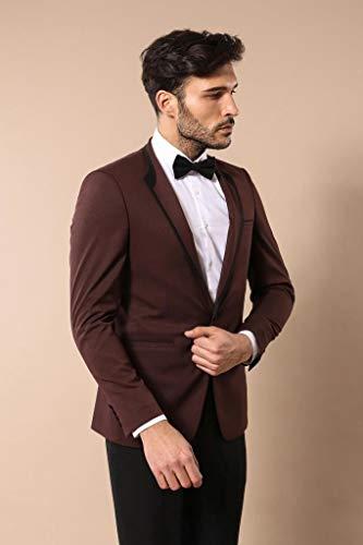 Wessi Slimfit Selbst Gemusterter Hochzeits-Smoking Tuxedo, Rojo, 52 Mens