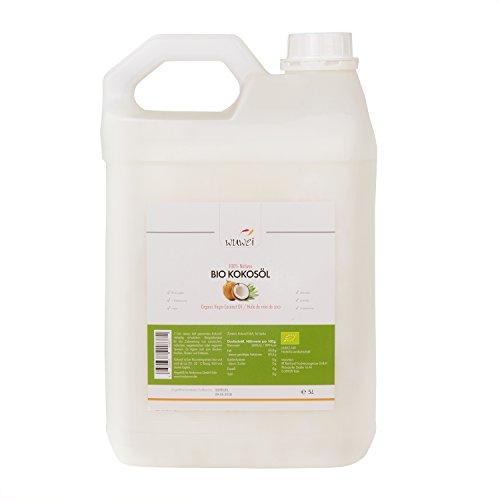 Bio Kokosöl, 100{a854c46de38460cefc8157ae1201d2984ac13d0507aff67b1526393b83ac7c2d} nativ und kaltgepresst, für cholesterinfreie Ernährung & Ayurveda, vielseitig verwendbar, auch für die Haut und Haare, Massage (hawaiianisch, Lomi Lomi, etc), Premium Kokosnussöl, 5 Liter Kanister