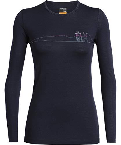 Icebreaker 200 Oasis Longsleeve Crewe Shirt - Skis in Snow - Women - Langarmshirt
