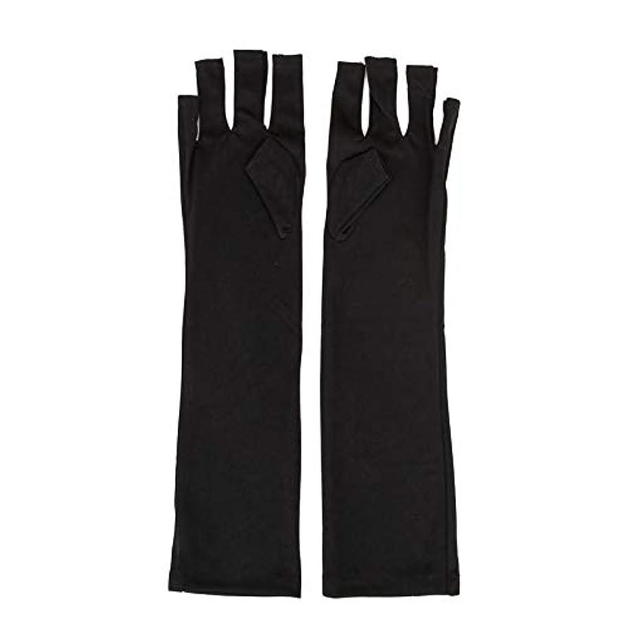 パーク厚い栄養1ペアネイルアートUV保護手袋UVランプ放射線防護手袋ネイルアートドライヤーツールマニキュアツールネイルアートツールオープントゥブラック