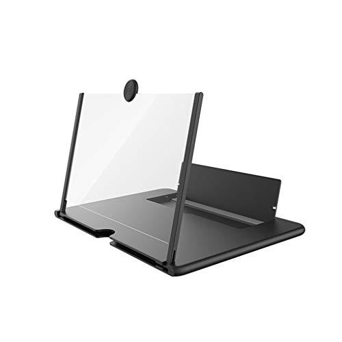 Lupa de pantalla, soporte plegable para teléfono móvil, con amplificador de pantalla, 12', HD, proyector 3D, pantalla de proyector para películas y vídeo en vivo (negro)