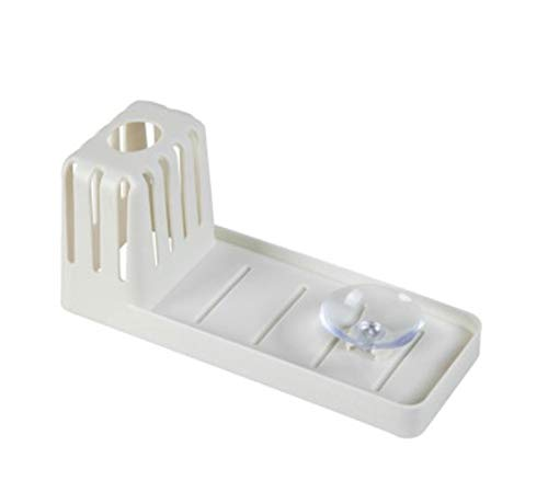 Sink suction cup rack, cleaning brush rack drain rack, non-perforated soap storage rack for home kitchen (beige)
