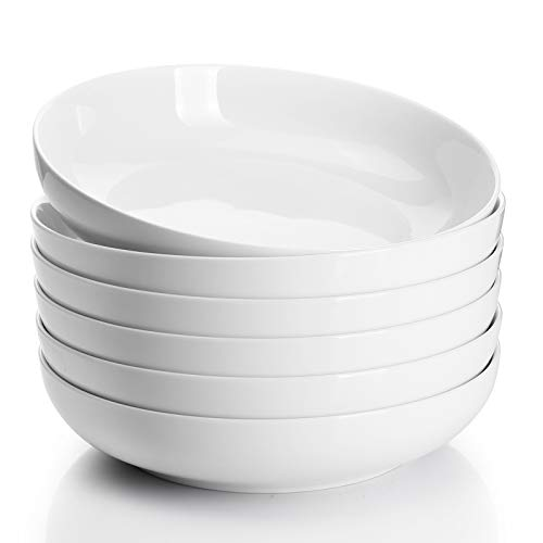 Sweese 124.001 Porcelain Salad Pasta Bowls - 30 Ounce - Set of 6, White