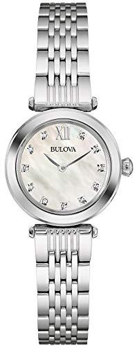 Bulova Diamond 96S167 - Reloj de pulsera de diseño para mujer - Acero inoxidable - Esfera de nácar