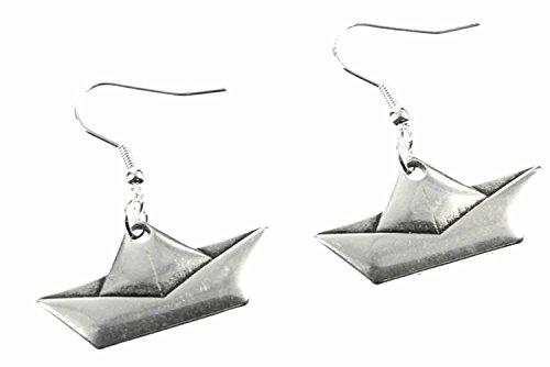 pendientes de papel Miniblings velero Barco de Origami - joyería hecha a mano de la moda me Barco de vela doblada plata - plata pendientes