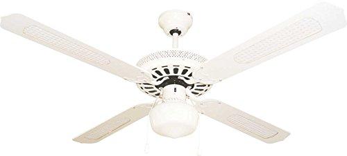 Bastilipo Ayamonte Ventilateur de plafond avec lumière E27, 60 W, blanc, 132 x 47 cm