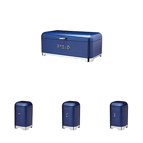 KitchenCraft Lovello Tea, Coffee and Sugar Canisters with Bread Bin - Navy Blue