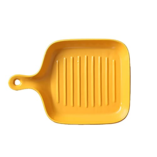 1 Piece Baking Sheets Nonstick Baked Rice Baking Tray Oven Tableware With Handle Yellow