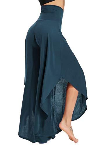 FITTOO Pantalones De Yoga Sueltos Cintura Alta Mujer Pantalones Largos Deportivos Suaves y Cómodos 740,Azul,M