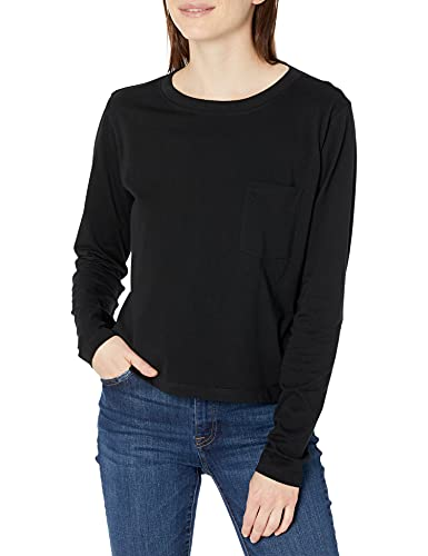 The Drop Women's Pixie Long Sleeve Cropped Pocket Tee