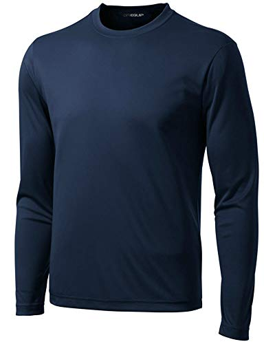 DRI-EQUIP Long Sleeve Moisture Wicking Athletic Shirts in Mens Sizes,True Navy,Large