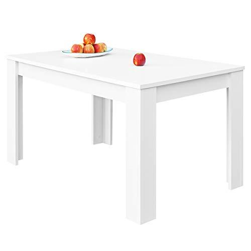 COMIFORT Mesa de Comedor- Mueble Extensible, de Estilo Moderno, Muy Resistente, con Medidas de 140/190 x 90 x 78 cm, Fabricado en Europa, Color Blanco