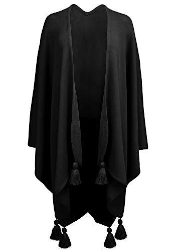 Hans Moser Poncho Cape Umhang Stola groß Wetterfleck schwarz Merino-Wollmischung Schultertuch Trachten-Tuch Trachtenumhang Damen StrickponchoTrachtenponcho gestrickt Überwurf Schal