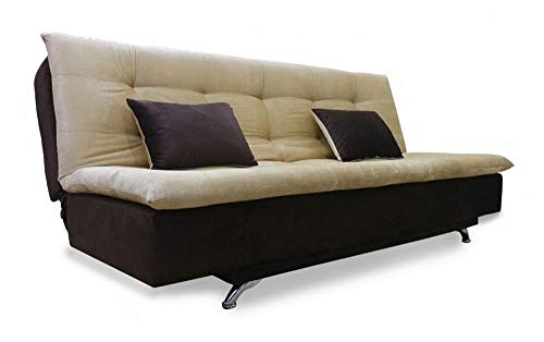 Adorn India Aspen Three Seater Sofa Cum Bed (Brown and Beige)