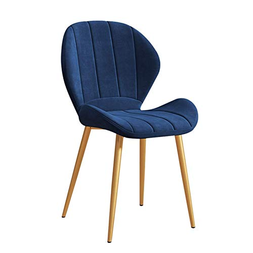 Dining Chairs 1pcs with Cushioned Pad Kitchen Chairs Sturdy Metal Legs Soft Velvet Upholstered Without Armrests Easy to Store (Color : Blue)