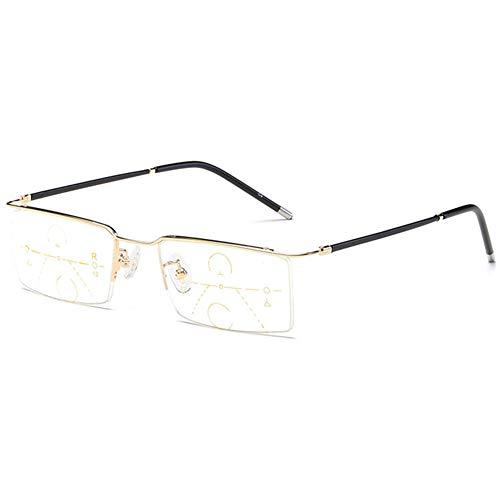 KOOSUFA Herren Gleitsichtbrille Progressive Multifokus Lesebrille Damen Metallrahmen Anti-Blaulicht Lesebrille Lesehilfe Sehhilfe Halbrandbrille 1.0 1.5 2.0 2.5 3.0 3.5 4.0 (1x Gold, 3.0)