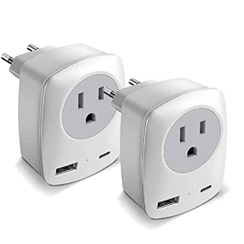 European Adapter, America to Europe Travel Adapter, International Power Adaptor with 1 US Outlet and 2 USB, EU Plug Adapter for Italy/Spain/German/Greece (Not for UK), Type-C Plug with USB C
