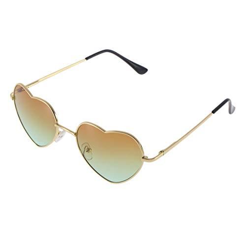 KoelrMsd Gafas de Sol con Forma de corazón para Mujer, Gafas Anti UV 400 con Marco de aleación, Gafas de Sol de 3 Colores para Mujer, Accesorios de protección Solar al Aire Libre