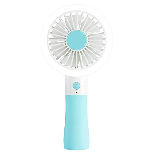 YIWEN Mini Abanico Portátil USB Fan De Viaje, Ventilador De Mano De Pilas Eléctrico Luz De Relleno Ventilador De Mano Recargable Ventilador Hogar Fan Personal Enfriamiento 2 Velocidades,Azul