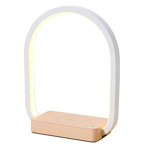 Qi Cargador inalámbrico LED lámpara de escritorio, cargador inalámbrico luz nocturna y lámpara de mesita de noche, control táctil 3 tonos de luz, luz de lectura para el hogar