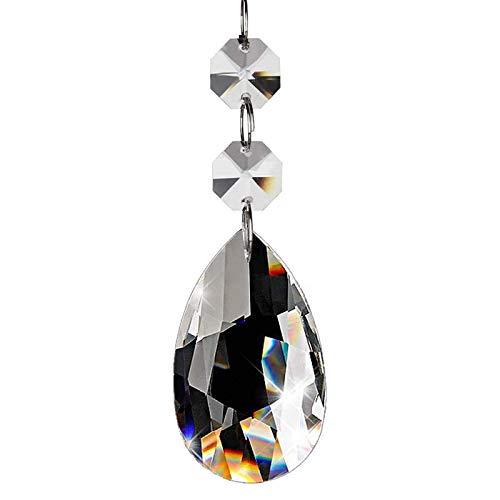 20 piezas Araña de lágrima de cristal, Cuentas de cristal en forma de gota para la decoración del hogar de la fiesta de bodas(50 mm, transparente)