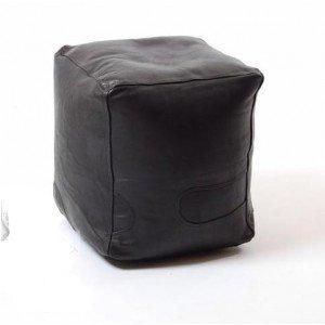 Global Craft Village Noir Cube Cuir Repose-Pieds