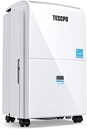 TECCPO 3000 Sq.Ft Dehumidifier TAD30B, Powerful Dehumidifier for Basements with Quite, Intelligent Humidity Control, Continuous Draining