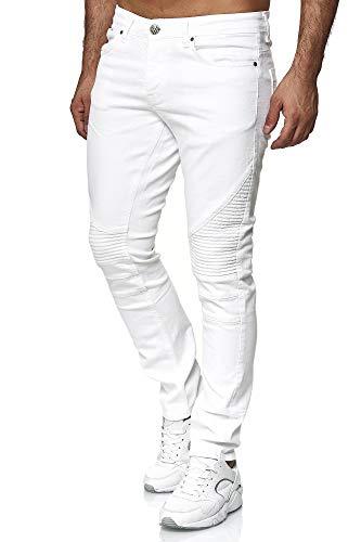 Tazzio Herren Denim Biker-Jeans im Destroyed Look Slim Fit 16517 (34/32, Weiss)