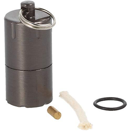 com-four® Mini Encendedor para Acampar, al Aire Libre y como Llavero: Encendedor de Gasolina Recargable con Llavero y Material de Repuesto