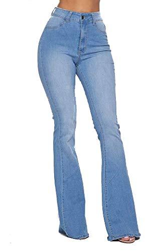 SOHO GLAM High Waisted Stretchy Elastic Bell Bottom Jeans Women Denim Pant -L