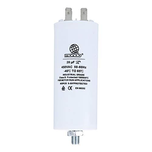 Kondensator Anlaufkondensator Motorkondensator Motor 20µF / 20 uFbis 450V mit 6,3mm AMP