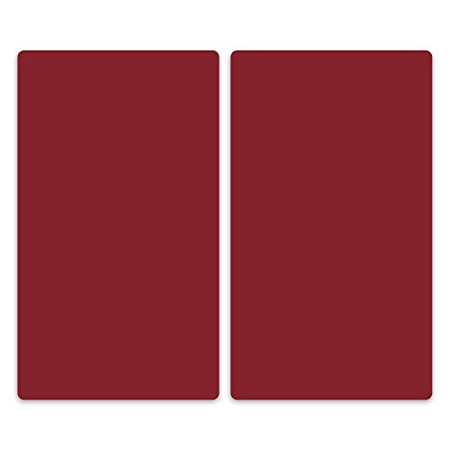 decorwelt   Herdabdeckplatten 2x30x52 cm Ceranfeldabdeckung 2-Teilig Universal Elektroherd Induktion für Kochplatten Herdschutz Deko Schneidebrett Sicherheitsglas Spritzschutz Glas Dunkel Rot