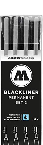 Molotow Blackliner (Fineliner mit permanenter, dokumentenechter Tinte, Strichstärke 0,3 mm bis 1,0 mm) 4er Etui schwarz
