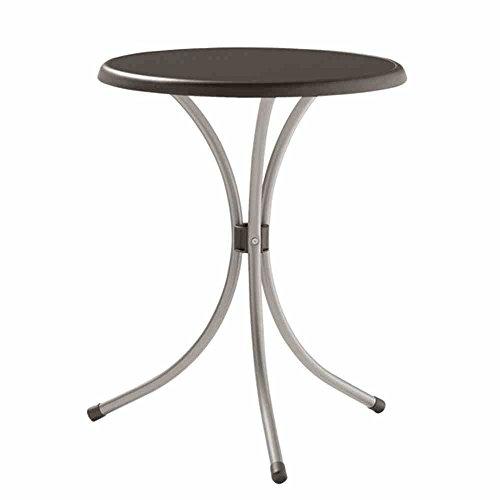 Sieger 200/A Bistro-Tisch mit mecalit-Pro-Platte Ø 60 cm, Stahlrohrgestell graphit, Tischplatte Schieferdekor anthrazit