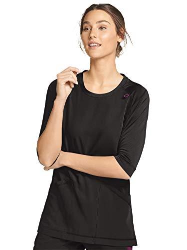 Jockey Women's Scrubs Women's Retro 3/4 Sleeve Scrub Top, Black, M