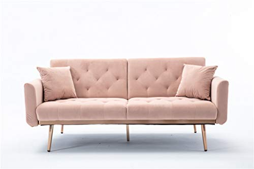 """68""""-Button Velvet Sofa, Accent Sofa, Mid Century Modern Velvet Fabric Couch, Convertible Futon Sofa Bed ,Recliner Couch Accent Sofa Loveseat Sofa with Gold Metal Feet (Pink)"""